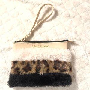 """Betsey Johnson faux fur wristlet 6x 5"""""""